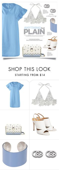 """""""The Prettiest Underpinnings"""" by mahafromkailash ❤ liked on Polyvore featuring Maison Margiela, Gucci, Blue, Dressunder50, dressunder100, summer2017 and prettyunderpinnings"""