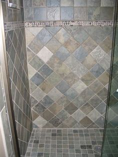 shower tile options, love the greyish blue tile!