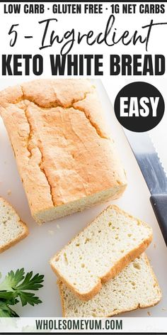 Easy Paleo Keto Bread Recipe - 5 Ingredients - If you want to know how to make the BEST keto bread recipe this is it! It makes fluffy white paleo bread that's quick easy. Just 5 basic ingredients! Easy Keto Bread Recipe, Bread Recipe Video, Best Keto Bread, Low Carb Bread, Low Carb Keto, Paleo Bread, Bread Recipes, Flour Recipes, Healthy Recipes