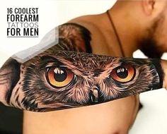 Forearm Tattoo Skull - - Best Friend Tattoo Anchor - Sunflower Tattoo With Name Tigeraugen Tattoo, Owl Forearm Tattoo, Owl Eye Tattoo, Tiger Tattoo Sleeve, Forarm Tattoos, Side Tattoos, Tattoo Sleeve Designs, Lion Tattoo, Body Art Tattoos