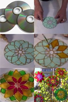 Kids Crafts, Old Cd Crafts, Diy Home Crafts, Diy Crafts To Sell, Craft Projects, Arts And Crafts, Paper Crafts, Crafts With Cds, Recycled Cds
