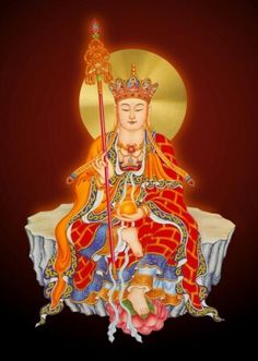Ksitigarbha Bodhisattva - part of the vajra family headed by Aksobhya. She holds the wish-fulfilling jewel and with great altruism rescues beings from the hell realm. Buddha Temple, Buddha Zen, Buddha Buddhism, Buddhist Monk, Tibetan Buddhism, Buddhist Art, Mahayana Buddhism, Chinese Mythology, Little Buddha