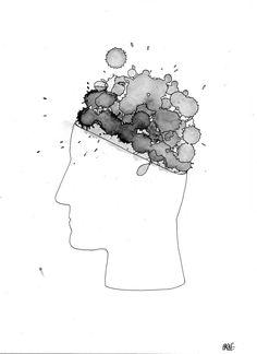 Work #4 Brain Explosion Orange juice xBic Marker Ink drips/Muji 0,38 Black