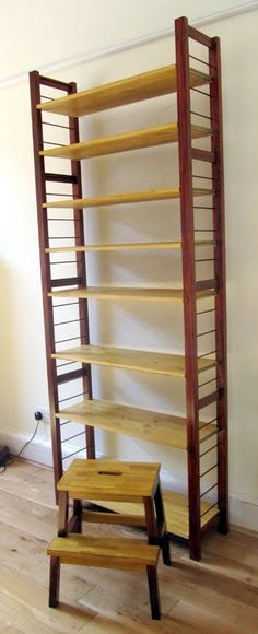 Insert dowels in sides to contain books, etc.