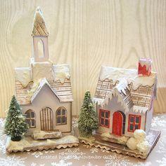 Vintage cards diy tim holtz ideas for 2019 Christmas Paper, Christmas Wishes, Christmas Projects, Christmas Home, Vintage Christmas, Merry Christmas, Christmas Village Houses, Putz Houses, Christmas Villages