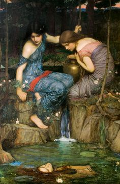► J. W. Waterhouse ~ L'ultimo dei PreRaffaelliti Nymphs Finding the Head of Orpheus