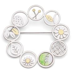 circles and garden elements brooch
