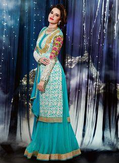 """Sky blue Georgette & Chiffon Designer Sharara Style Anarkali Suit Product Code :  FZ7809B-EGB  Shop Now :  http://www.cfashionbazaar.com/DetailPage.aspx?proid=4231&Item=15"""