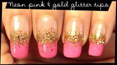 Neon Pink & Gold Glitter Tips nail art Tape Nail Art, Gold Nail Art, Pink Glitter Nails, Rose Gold Nails, Nail Art Halloween, Neon Pink Nails, Yellow Nails Design, Pink Und Gold, Funky Nail Art