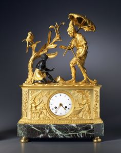 Claude Galle (attributed to), An Empire clock depicting Robinson Crusoe and Friday, attributed to Claude Galle, Paris, date circa 1805 Robinson Crusoe, Tabletop Clocks, Mantel Clocks, Antique Stores, Antique Items, Louis Xvi, French Clock, Empire, Classic Clocks