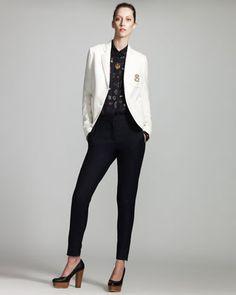 Monogrammed Schoolboy Jacket, Monogram-Print Blouse & Skinny Zip-Ankle Pants by Stella McCartney at Bergdorf Goodman.