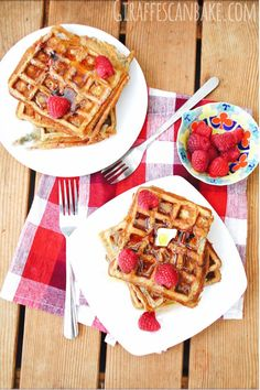 Raspberry Buttermilk Waffles » Giraffes Can Bake