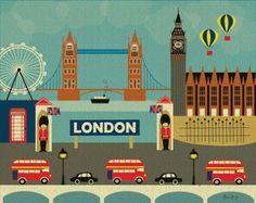 London, England Skyline Art -  Horizontal Destination Travel Wall Art Poster Print  for Home, Office, and Nursery - style E8-O-LON