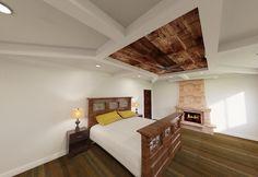 Master bedroom rendering #reclaimedwoodceiling #joshhouchinsdesigns #flippingraleigh