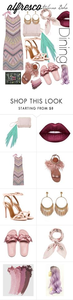 """""""Brombeer me."""" by babett-beattie ❤ liked on Polyvore featuring The Volon, Lime Crime, Charlotte Sparre, Miu Miu, Aquazzura, Puma, Manipuri and Gucci"""