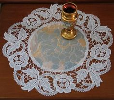 Image result for Advanced Embroidery Designs - Rose Cutwork Lace Doily.