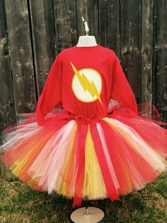 Flash super hero tutu dress outfit Www.CBK.Design