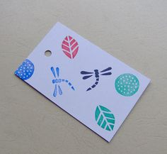 Dragonfly Gift tags insect gift tags leaf gift by HVasilevShop