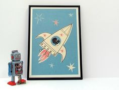 1950s Retro Atomic Rocket Poodle Framed Art Print