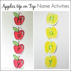 Apples Up on Top name activities for kids - art, literacy, and free printables