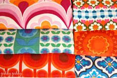 Vintage Fabrics: Design was so much more fun in the 50's. Loving this collection of very happy and colorful patterns.