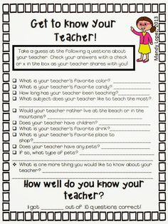 Use this FREEBIE the first day of school as a way to introduce yourself to your students. :)