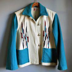 Vintage Julius Gans Ganscraft Hand-Woven Wool Chimayo Blanket