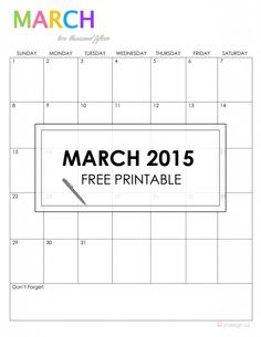 March 2015 Free Printable {jstdesign.ca}
