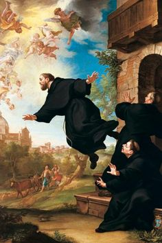 "St. Joseph of Cupertino; Feast day September 18. Patron Saint of Pilots and air travelers. He was ordained as a Franciscan in 1628 and gifted with many powers, one of them being the ability to fly. His ""gifts"" gained him notoriety and ultimately he was banished to a small friary in a remote part of Italy."