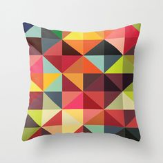 Throw Pillow Cover Triangles  Multicolor  16x16 18x18 by adidit, $36.00