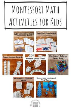 Free tutorials and printable resources for creating Montessori style hands-on math material for kids. Includes golden beads, teens board, addition and subtraction board, pink tower and more. Montessori Color, Montessori Kindergarten, Montessori Materials, Addition Activities, Math Activities For Kids, Fun Math, Math Tutorials, Free Tutorials, Math Words