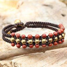 Red Jasper and Brass Wristband Bracelet - Crimson Joy | NOVICA