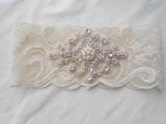 Wedding Garter Ivory Stretch Lace Wedding Garter Single With Pearls and Rhinestone Diamond Shape Applique Bridal Garter on Etsy, $32.00
