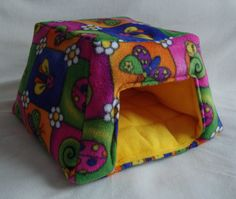 Medium Cosy Cave for Guinea Pigs. Colourful bugs/Sunshine Yellow.