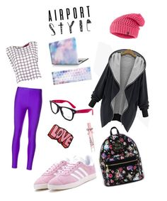 """""""Ready to travel ✈️✈️"""" by cristina-bedopoulou on Polyvore featuring Erika Cavallini Semi-Couture, adidas, Stoney Clover Lane, The North Face, Ray-Ban, Loungefly, Victoria's Secret and airportstyle"""