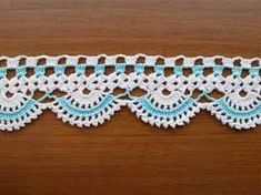 Crochet Edging And Borders SALE! Towel Edge (Teal/Mint and White) - Lace Edge Crocheted Cotton Towel Trim - Crochet Home Decor - Crochet Boarders, Crochet Lace Edging, Crochet Trim, Love Crochet, Filet Crochet, Learn To Crochet, Easy Crochet, Crochet Stitches, Knit Crochet