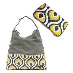 Set of 2 Grey and Yellow Peacock Hobo Designer Diaper by Ajobebe, $80.00