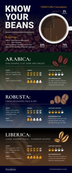 coffee infographic Arabica, Robusta and Liberica are three common coffee beans used globally. - Arabica, Robusta and Liberica are three common coffee beans used globally. Arabica Robusta, Types Of Coffee Beans, Green Coffee Beans, Green Coffee Extract, Coffee Guide, Coffee Infographic, Coffee Facts, Coffee Quotes, Coffee Plant