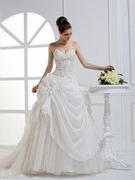 2012 Fall Strapless Organza bridal gown