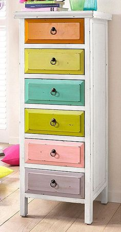 This is a cute way to help a child remember what drawer has what in it and to learn their colors. Repurposed Old Furniture Thanks To Diy Painting Projects Painting Old Furniture, Funky Furniture, Furniture Projects, Furniture Makeover, Diy Projects, Diy Painting, Furniture Stores, Antique Furniture, Bedroom Furniture