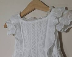 Antique long Baptism or Christening Gown by LilysVintageLinens