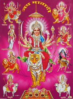 Nine Forms of Durga - Glitter Poster - Hindu Posters (Glitter Poster - Unframed) Lord Durga, Durga Ji, Saraswati Goddess, Kali Goddess, Indian Goddess, Lord Vishnu, Maa Durga Photo, Maa Durga Image, Ganesh Photo
