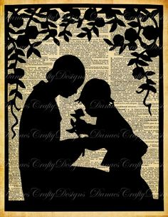 Mother and Child in the Garden- Vintage Silhouette on Aged Dictionary Print Background-S2-8.5x11- Instant Download-Bonus Sheet My Treat via Etsy
