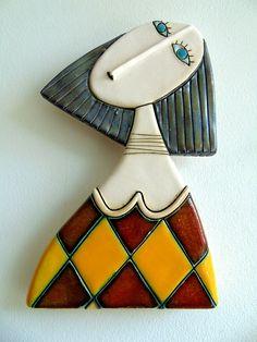 Girl Original Handmade Ceramic Art TileWall ArtHome