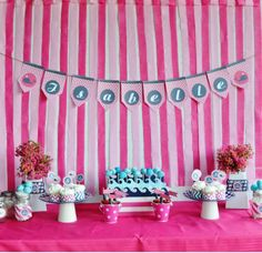 Preppy Whale  Birthday Party Package - Assembled and Personalized - Navy and Pink