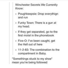 Supernatural code words. i knew Poughkeepsie, and the shoe one, and the motel one