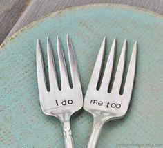 I do & Me Too Vintage Wedding Cake Forks (Mismatched Set)