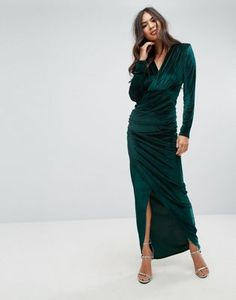 375c4a0caae Outrageous Fortune Plunge Front Wrapover Maxi Dress In Velvet