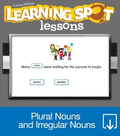 One monkey, two monkeys, how many more? This unit is all about how words change when there is more than one object! The Regular and Irregular Plural Nouns Learning Spot™ Lessons unit for third grade contains the following lessons:  Regular Plural Nouns  More Plural Nouns  Irregular Plural Nouns  Carson-Dellosa's Learning Spot™ Lessons feature dynamic, elementary curriculum aligned to Common Core Standards. Covering math, science, language, and social studies topics, each unit…