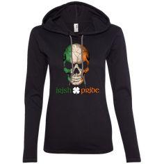 Irish Flag Skull - Irish Pride Ladies LS T-Shirt Hoodie